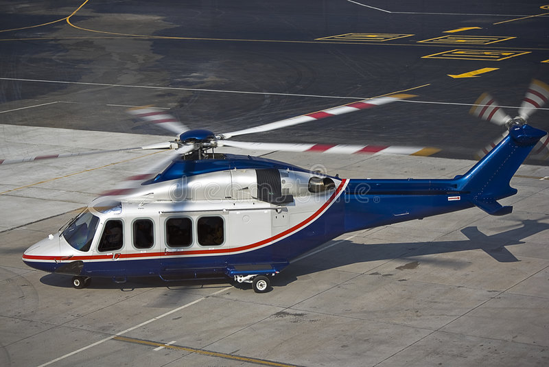 Agusta Westland AW139 Helicopter. Captured landing at Lanseria International Airport, South Africa. This model of helicopter is often preferred by business royalty free stock images