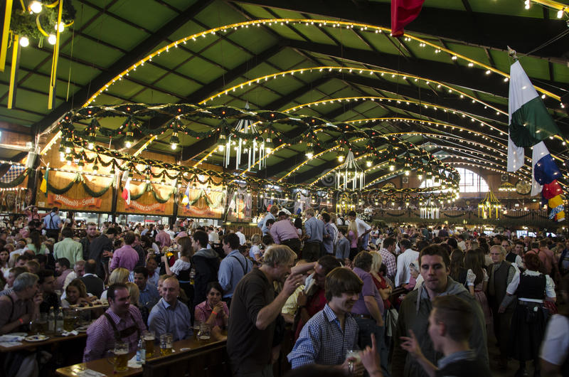 The Agustiner Festhalle during Oktoberfest 2012. The Augustiner Festhalle is one of the most interesting and beautiful area of the Oktoberfest. This photo is stock images