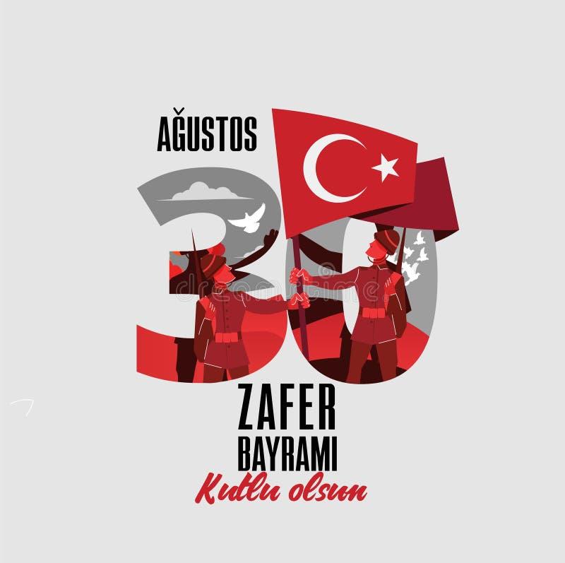 30 agustos, illustrazione di vettore di bayrami dello zafer 30 agosto, carta di celebrazione di Victory Day Turkey royalty illustrazione gratis