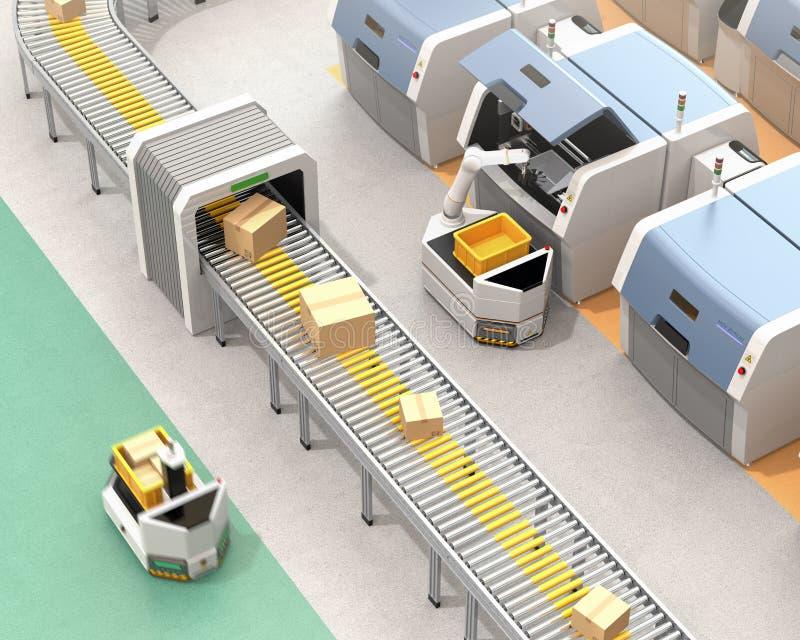AGV het plukken delen van metaal 3D printer vector illustratie