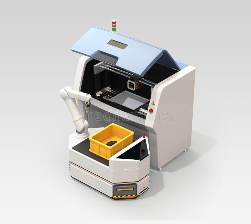 AGV het plukken machinedelen van 3D metaalprinter vector illustratie