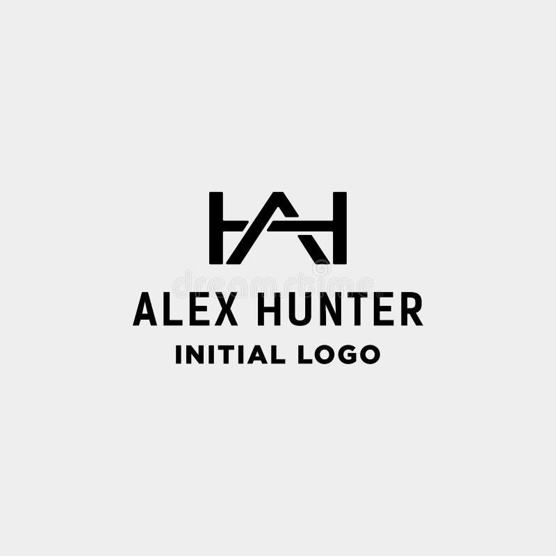 AH ícone inicial do vetor da identidade do monograma do projeto do logotipo ilustração royalty free