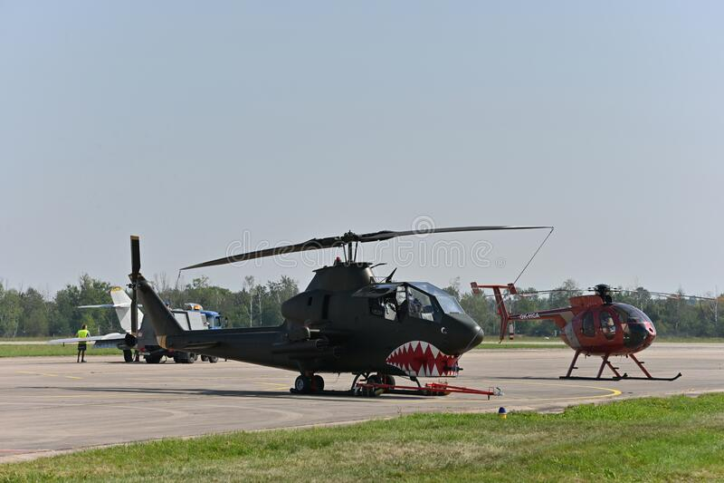 AH-1眼镜蛇,战斗直升机 库存照片