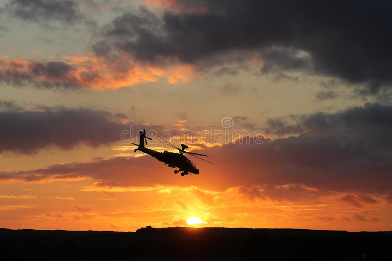 AH-64 Apache Helicopter. On exercise in Pembrokeshire, Wales stock photo