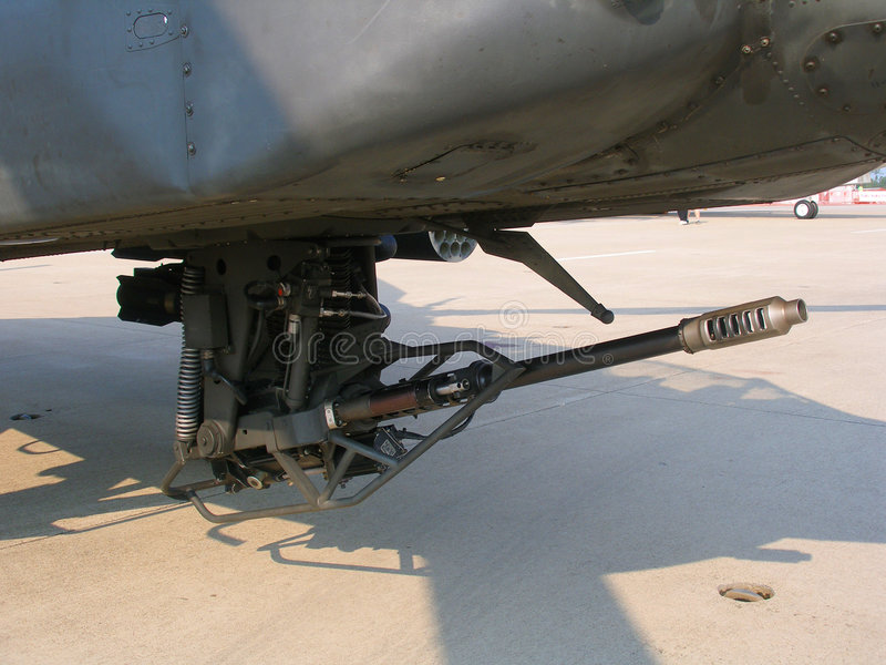 AH-64 Apache M230 30mm automatic cannon stock images