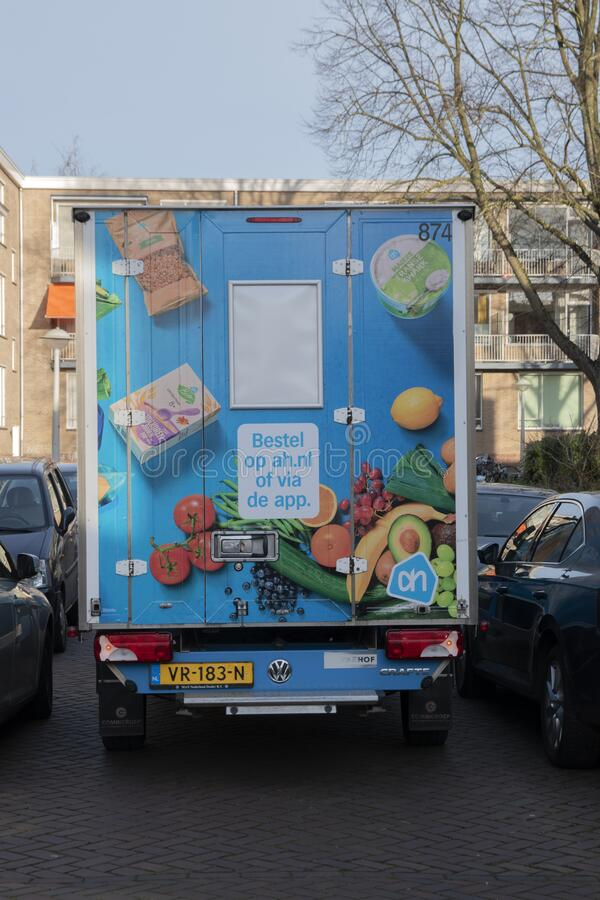 AH Delivering Truck At Amsterdam The Netherlands 2020.  stock image