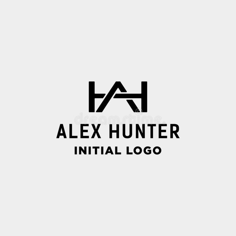 AH icono inicial del vector de la identidad del monograma del diseño del logotipo libre illustration