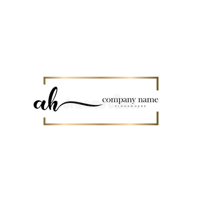 AH initial handwriting logo template vector. stock images