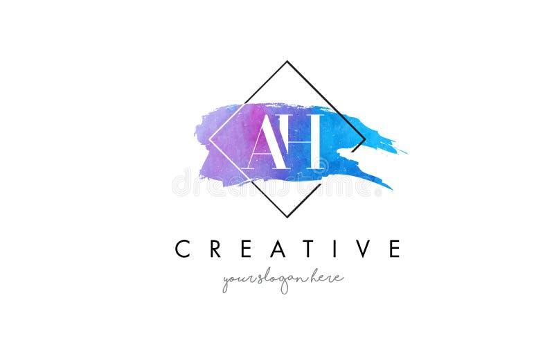 AH konstnärlig logo för vattenfärgbokstavsborste stock illustrationer