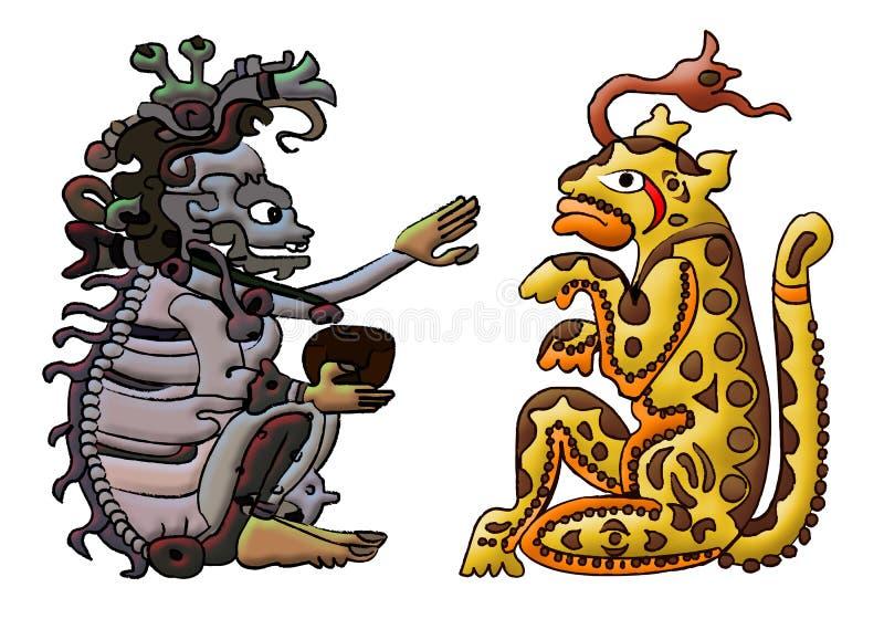 ah mayan puch för aztec balamgud stock illustrationer