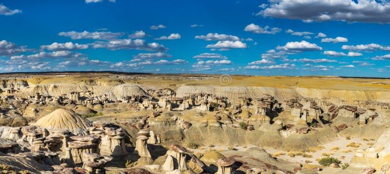 Ah-Shi-Sle-Pah Badlands. Panoramic Composition Of Hoodoos In Fruitland Sandstone Formation At The Ah-Shi-Sle-Pah Wilderness Study Area, San Juan Basin, New stock photography