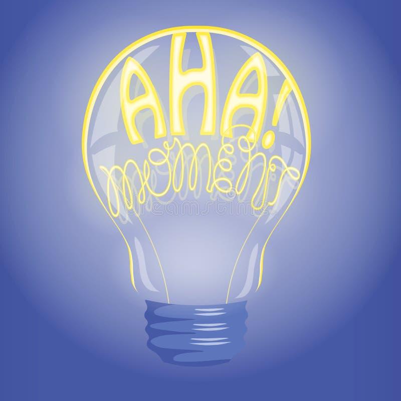 Aha!在电灯泡的片刻霓虹字法 向量例证