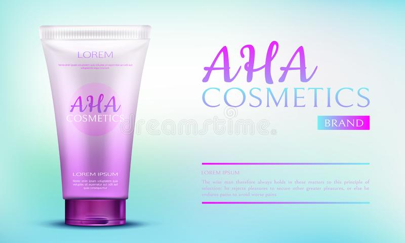 Aha cosmetic beauty product in pink tube container stock illustration