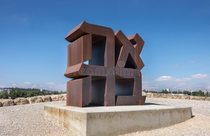 ` AHAVA` - `LOVE` sculpture of Robert Indiana royalty free stock photos