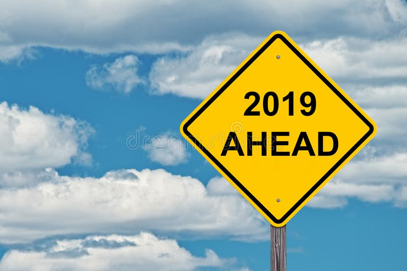 2019 Ahead Sign. 2019 Ahead Caution Sign With Blue Sky Background royalty free stock photography