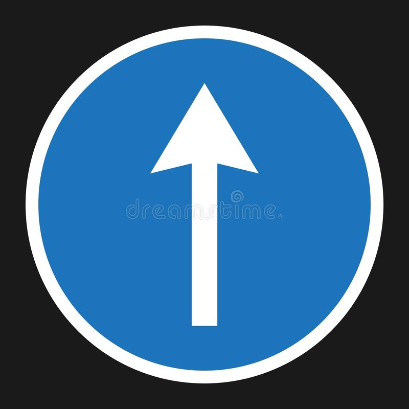 Ahead Only and Drive Straight sign flat icon royalty free illustration
