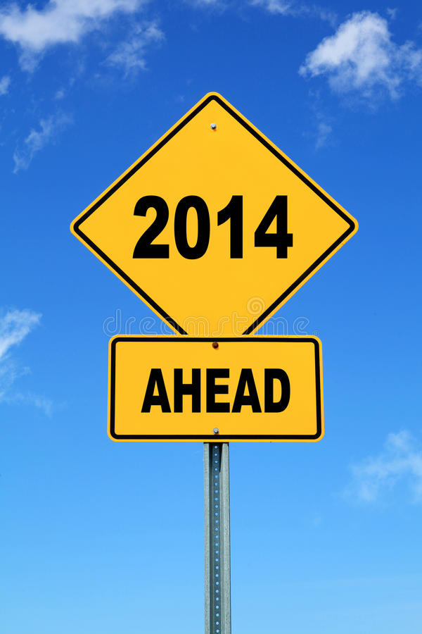 2014 ahead road sign. Yellow cautionary road sign 2014 ahead vector illustration