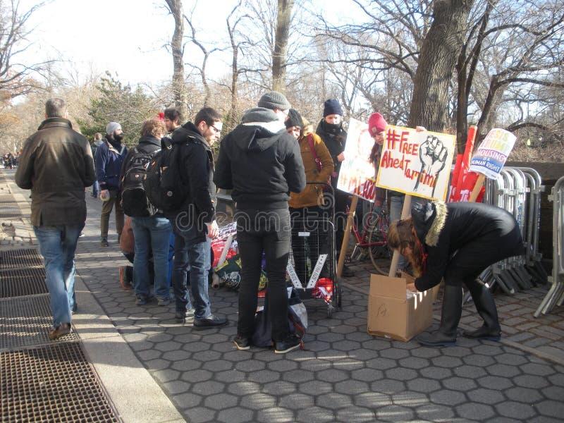 Ahed Tamimi Hashtag, Women`s March, NYC, NY, USA stock photo