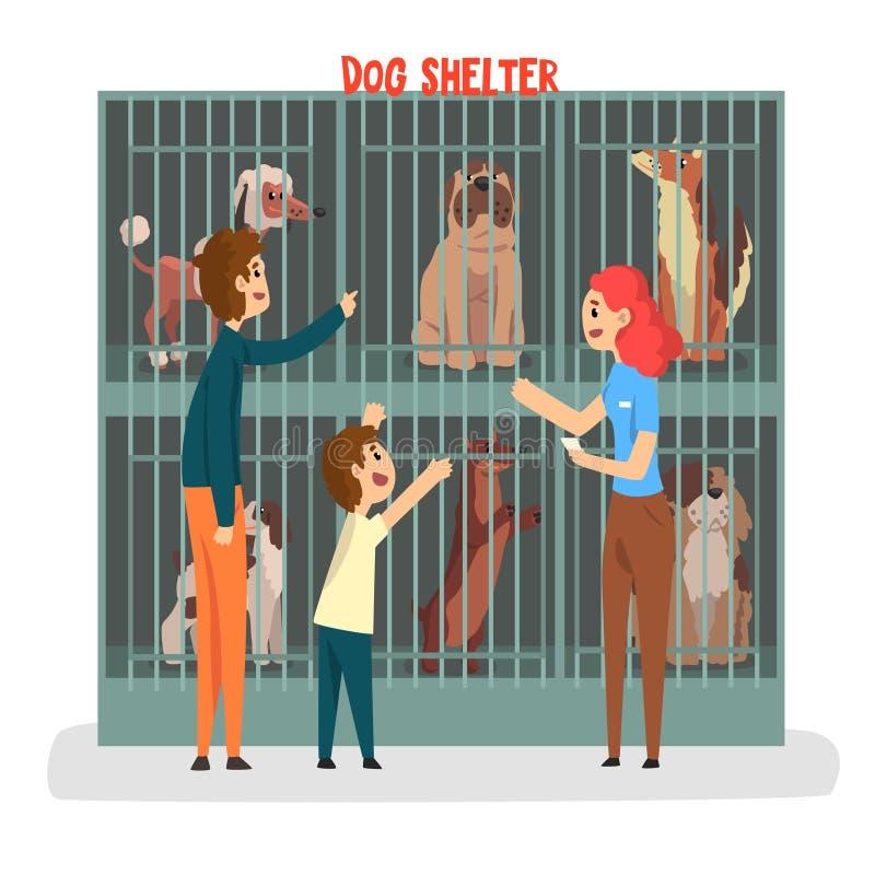 Ahelter de chat, famille adoptant l'animal familier de chat de l'illustration de vecteur de refuge pour animaux sur un fond blanc illustration stock