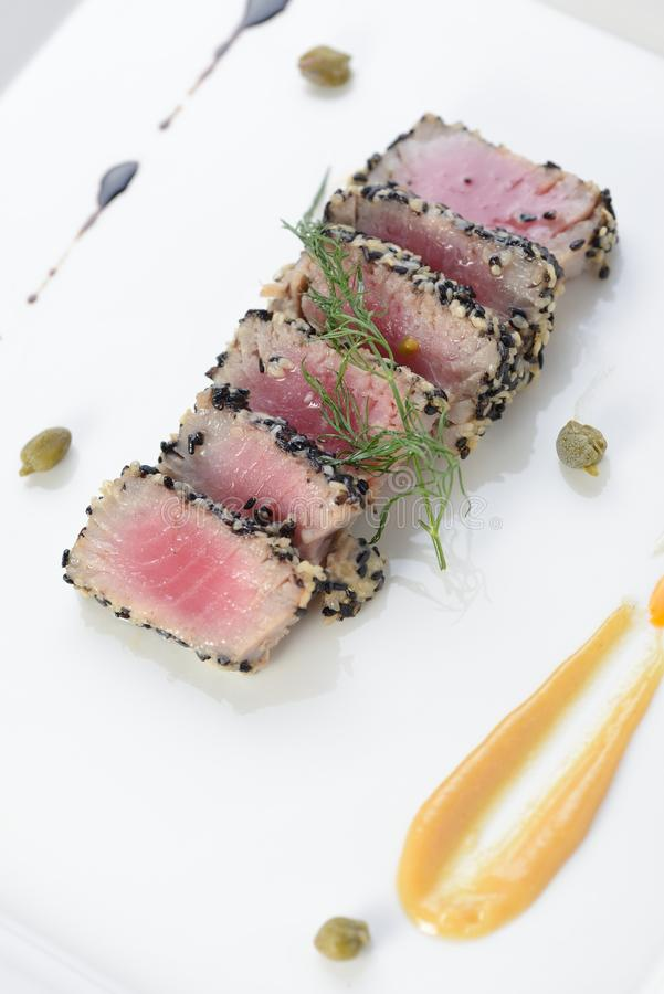 Ahi Tuna Seared stock photography