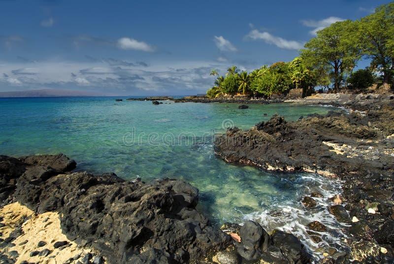 Ahihi zatoka w Waiala zatoczce, południowy Maui, Hawaje obraz stock