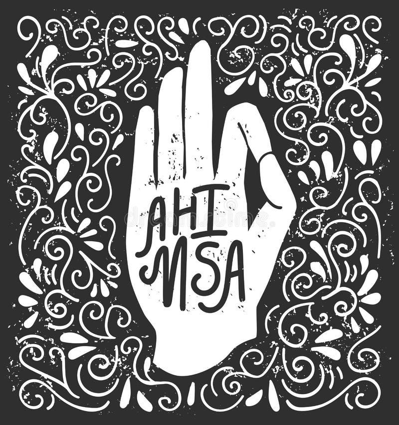 Ahimsa Vector a ilustração com a silhueta branca da mão na pose Jnana ou o mudra e a rotulação de Chin no fundo preto com redemoi ilustração royalty free