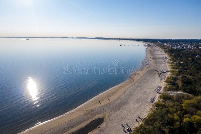 Ahlbeck, Usedom, aard, achtergrond, de zomer, oceaan, bovenkant, hommel, water, mooie mensen, blauw, vakantie, antenne, mening, l stock afbeelding