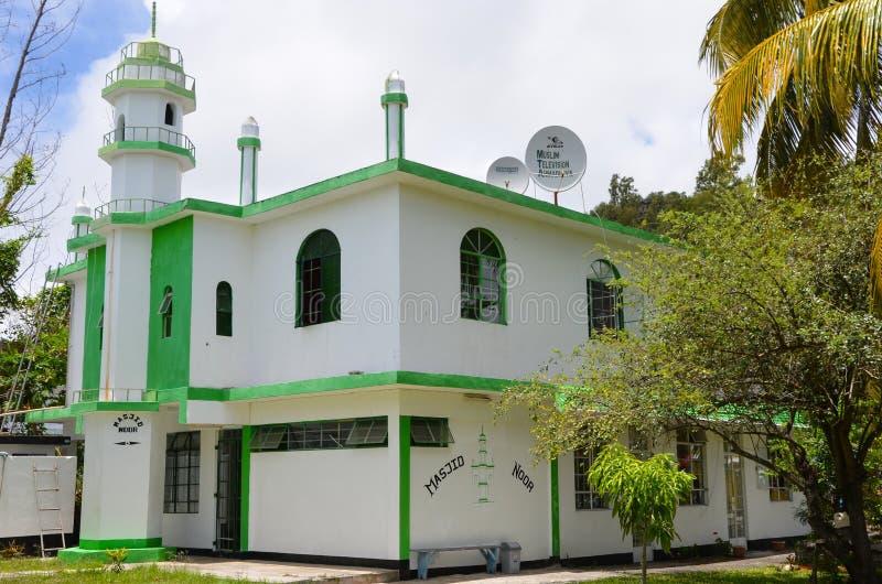 Ahmadiyya moské i port Mathurin, Rodrigues, Mauritius royaltyfri foto