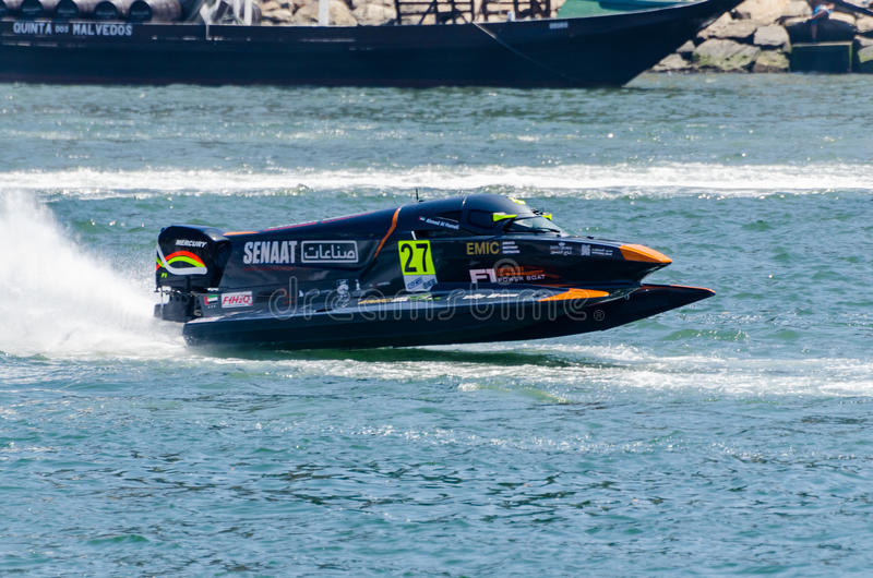 Ahmed Al Hameli (ARE). PORTO, PORTUGAL - AUGUST 1, 2015: Ahmed Al Hameli (ARE) during the U.I.M. F1H2O World Championship in Porto, Portugal royalty free stock photography