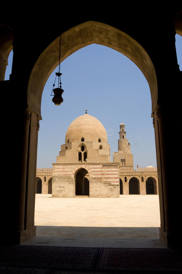 Ahmed Ibn Tulun Mosque in Cairo, Egypt. It is arguably the oldest mosque in the city surviving in its original form, and is the largest mosque in Cairo in royalty free stock photos