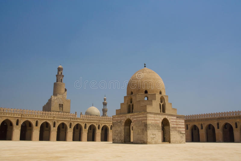 Ahmed Ibn Tulun Mosque in Cairo, Egypt. It is arguably the oldest mosque in the city surviving in its original form, and is the largest mosque in Cairo in stock image