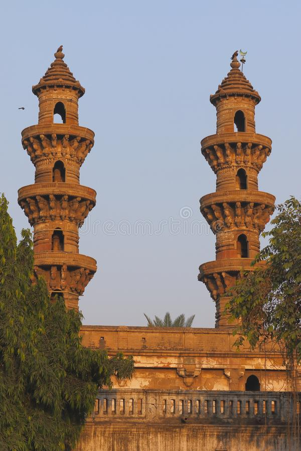 Jhulta minar swing minaret , ahmedabad, gujrat, India. Ahmedabad is famous as the swing minarets. the sidhi bashir mosque known as swinging minaret, because royalty free stock photos