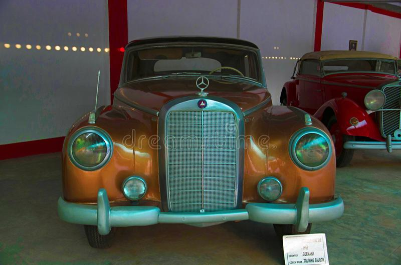 AHMEDABAD, GUJARAT, INDIA - June 2017, Close-up of the front of Mercedes Benz Year 1955, Coach work - touring saloon, Germany. A. Uto world vintage car museum royalty free stock photos