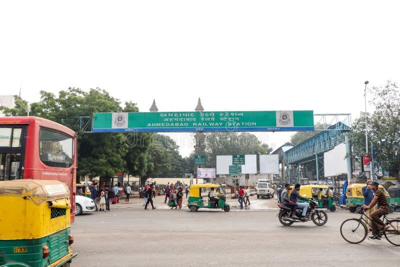 Ahmedabad järnvägsstation - Indien arkivbild