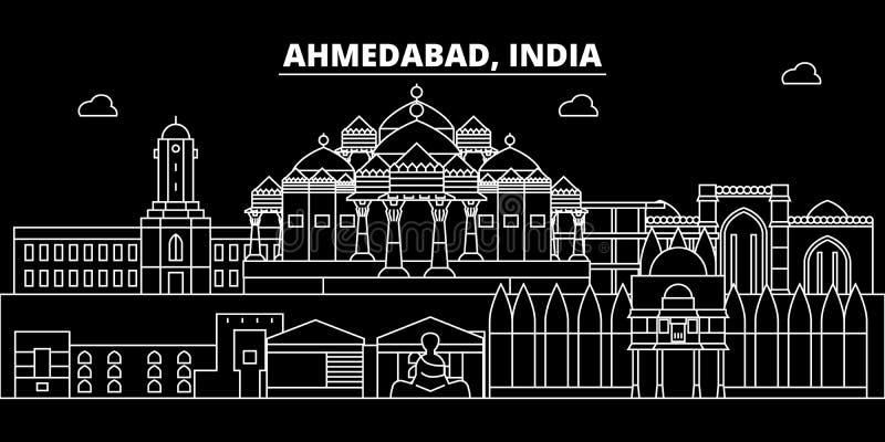 Ahmedabad konturhorisont Indien - Ahmedabad vektorstad, indisk linjär arkitektur, byggnader Ahmedabad lopp royaltyfri illustrationer