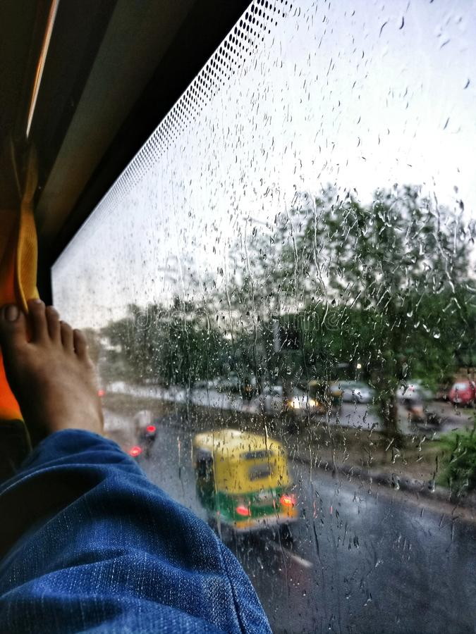 Ahmedabad Rain. A shot from the window seat in Ahmedabad, India royalty free stock photography