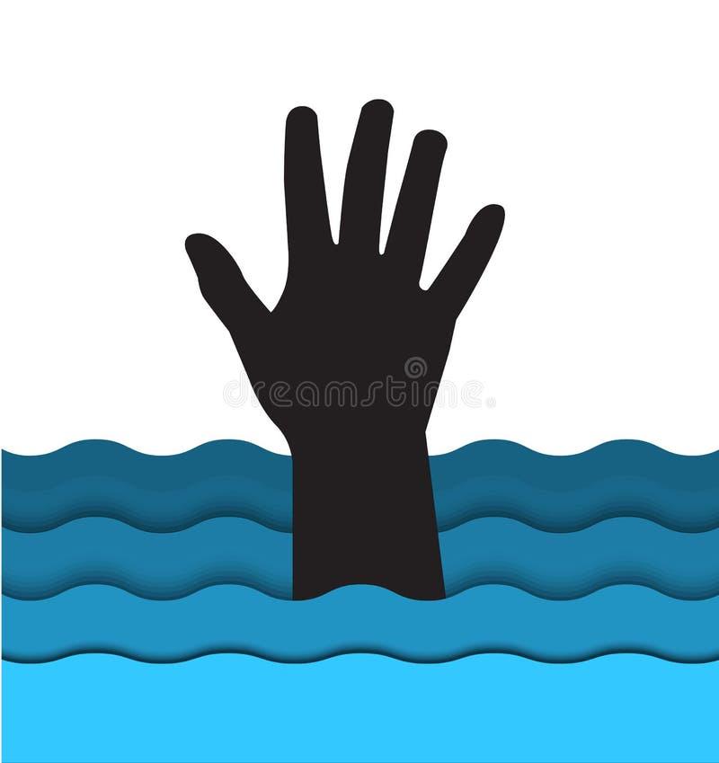 Ahogamiento de la mano del hombre que se pega fuera del agua libre illustration