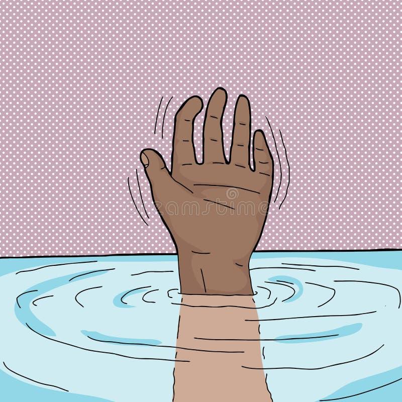 Ahogamiento de la persona stock de ilustración
