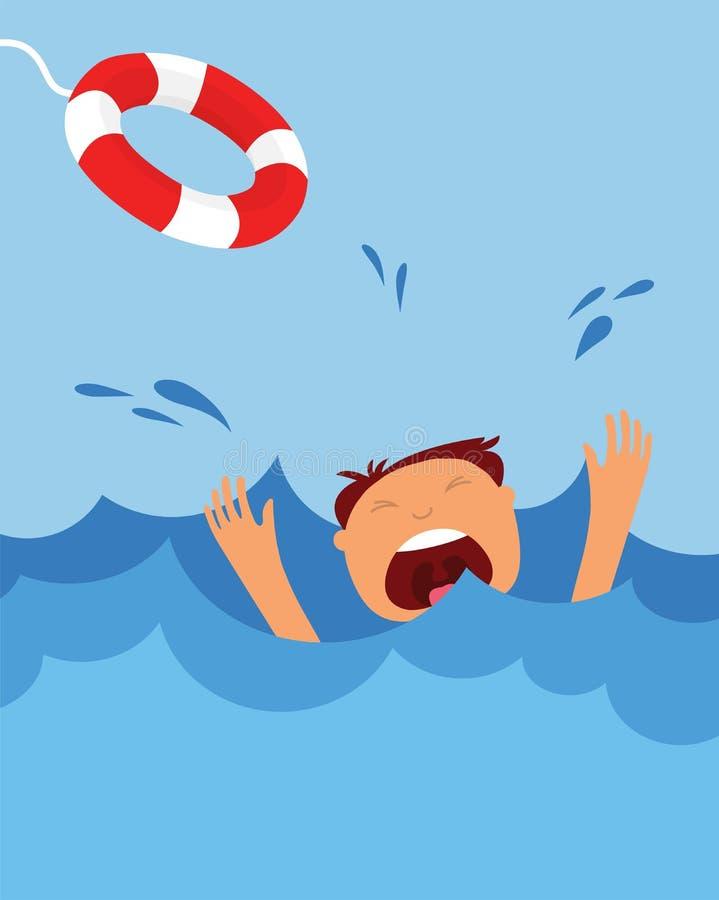 Ahogamiento del hombre que grita para la ayuda peligro del verano libre illustration