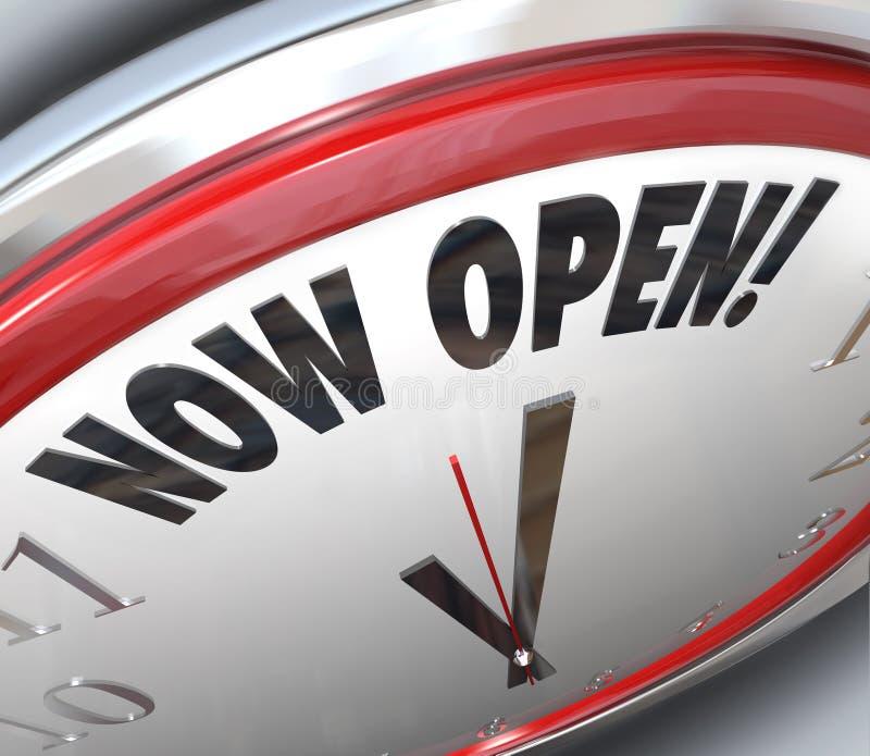 Ahora abra el reloj que anuncia la apertura magnífica ilustración del vector