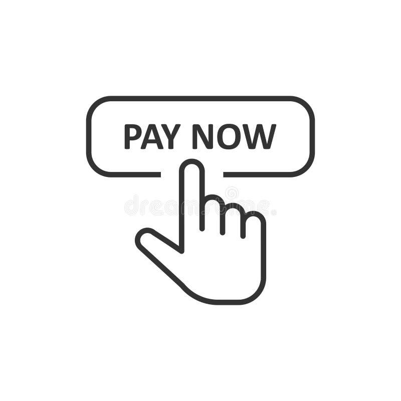 Ahora pague el icono en estilo plano Ejemplo del vector del cursor del finger en el fondo aislado blanco Concepto del negocio del stock de ilustración