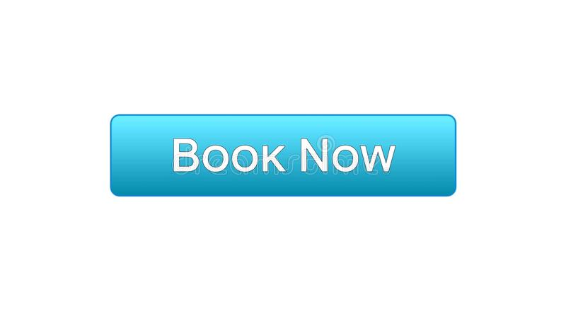Ahora reserve el color azul del botón del interfaz del web, boleto del vuelo en línea, reserva stock de ilustración