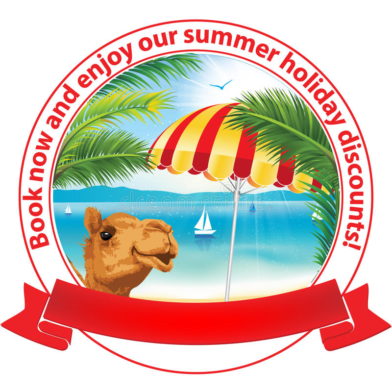 Ahora reserve y disfrute de nuestros descuentos de las vacaciones de verano ilustración del vector