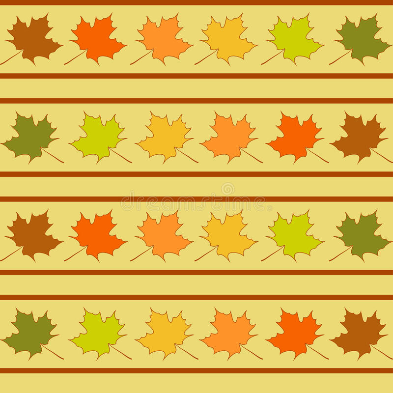 Ahornblatt in den Reihen nahtloses Muster, Blätter tapezieren lizenzfreie abbildung