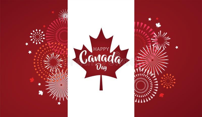Ahornblatt mit Feuerwerksplakat für feiern den Nationaltag von Kanada Glückliche Kanada-Tageskarte Kanada-Flagge, Feuerwerke vektor abbildung