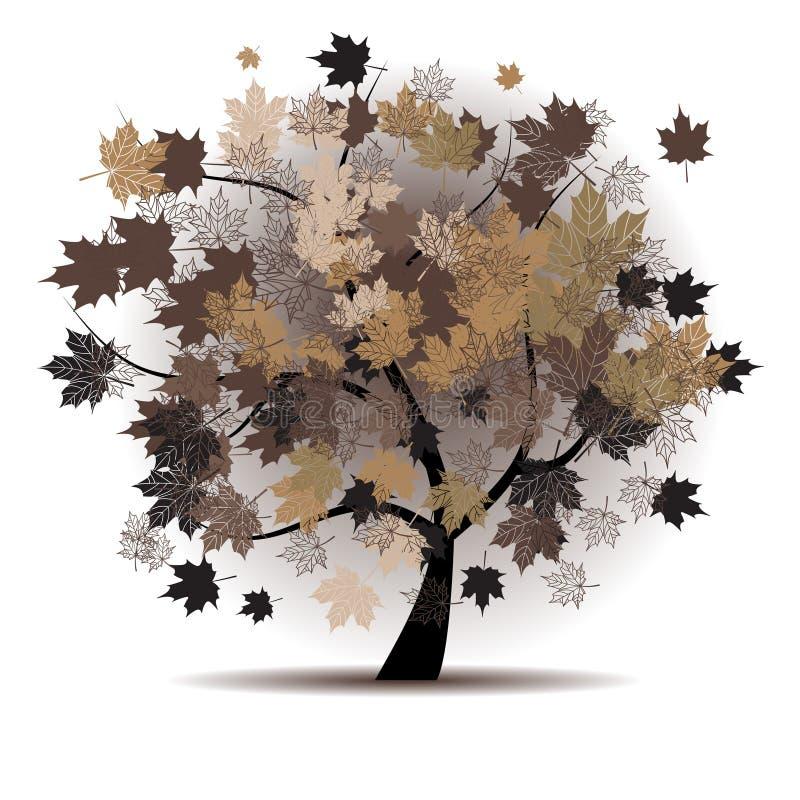 Ahornholzbaum, Herbstblattfall lizenzfreie abbildung