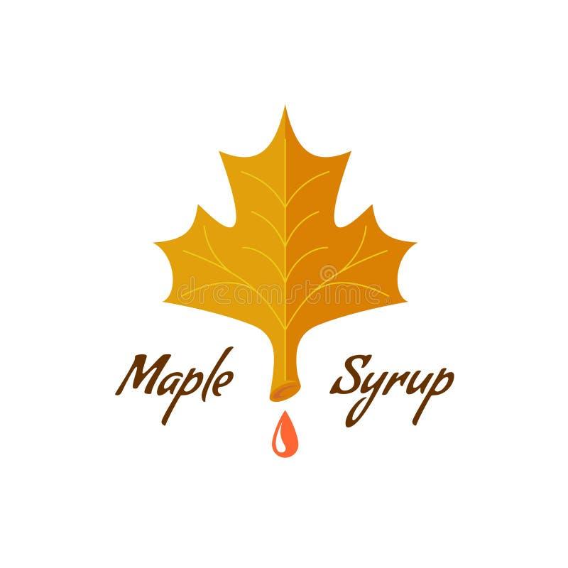 Ahornsirupzeichen Logo mit Blatt, Tropfen und Text lizenzfreie abbildung