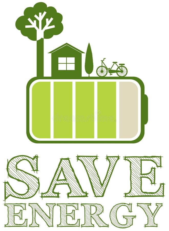 Ahorre el cartel de la energía con diseño verde ilustración del vector