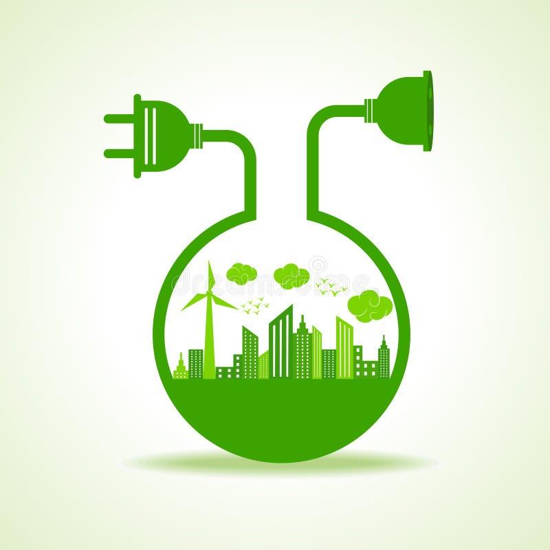 Ahorre el concepto de la naturaleza con Ecocity stock de ilustración