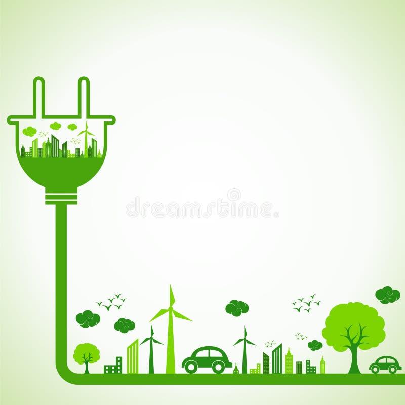 Ahorre el concepto de la naturaleza con Ecocity ilustración del vector